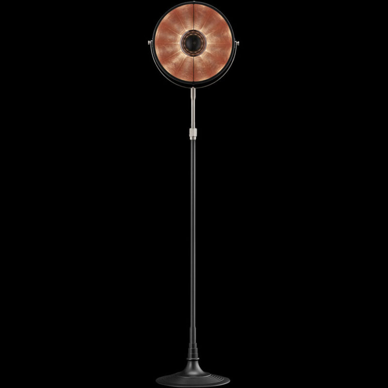 Fortuny floor lamp Atelier 32 black and copper leaf